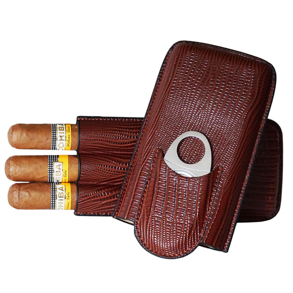 Classic Collection - Roma Leather Case - 3 Fingers - Color Brown