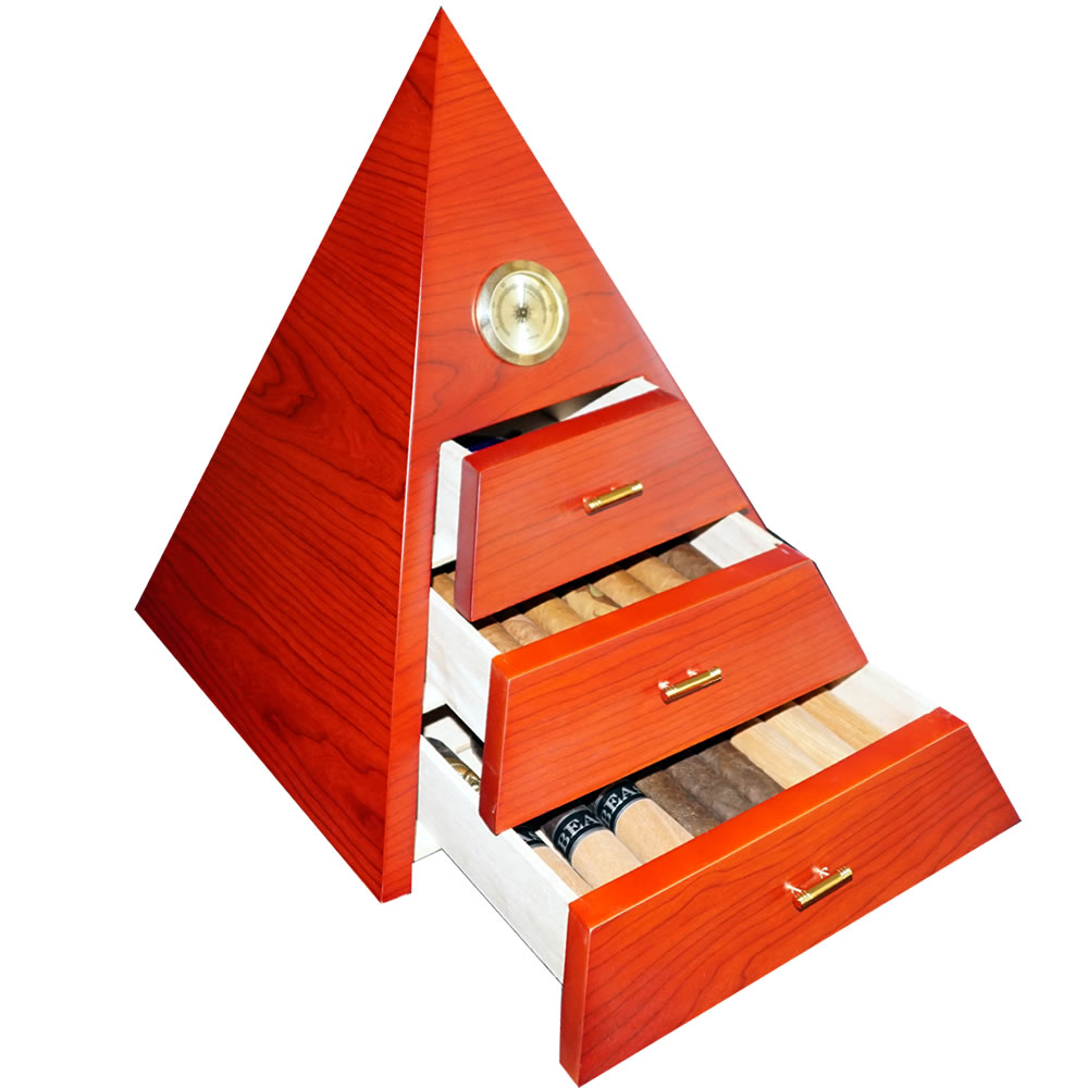 Mystic Collection - Red Pyramid - Cigar Humidor - Capacity: 50 cigars