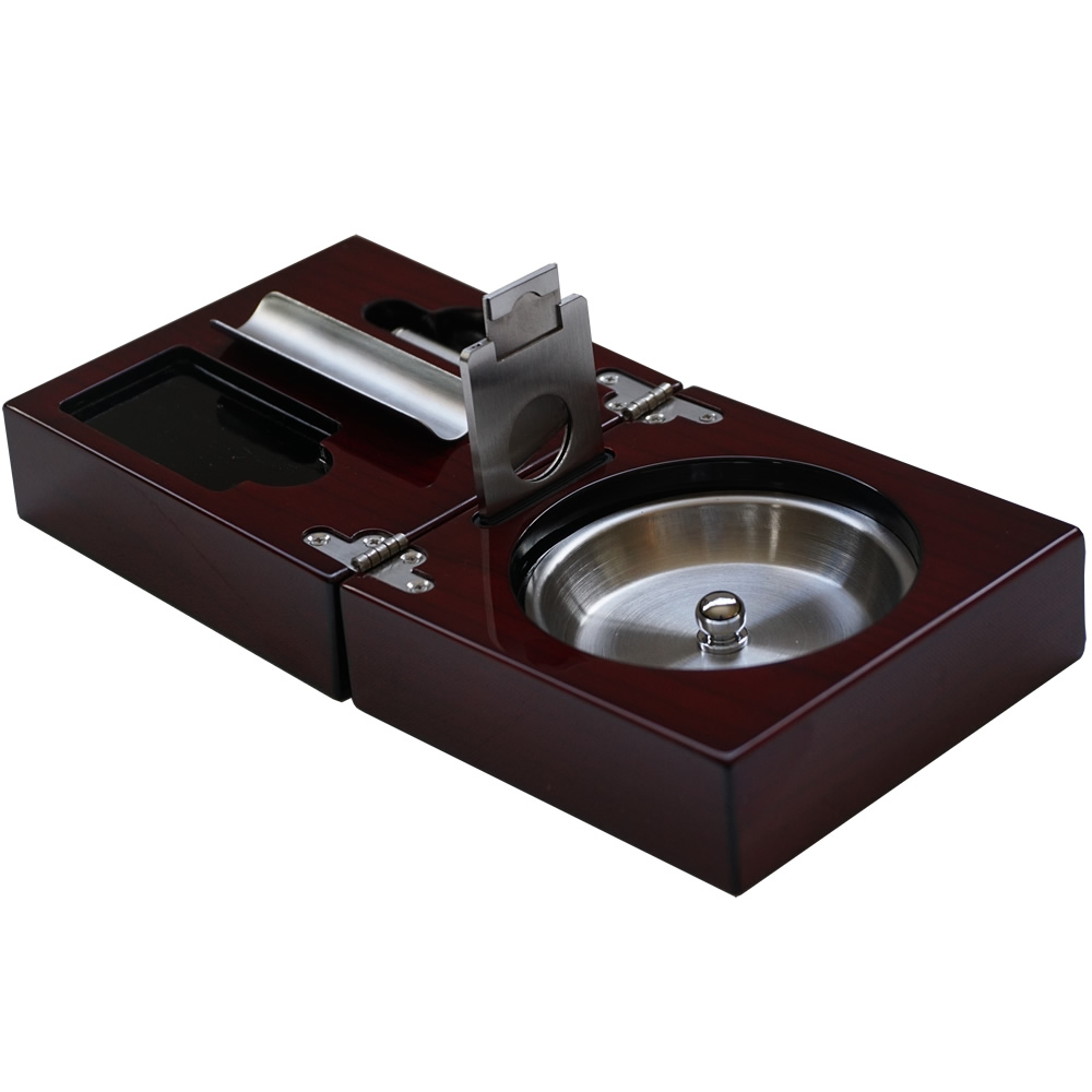 The Compact Cigar Ashtray with Cigar Cutter and Punch - Cherry