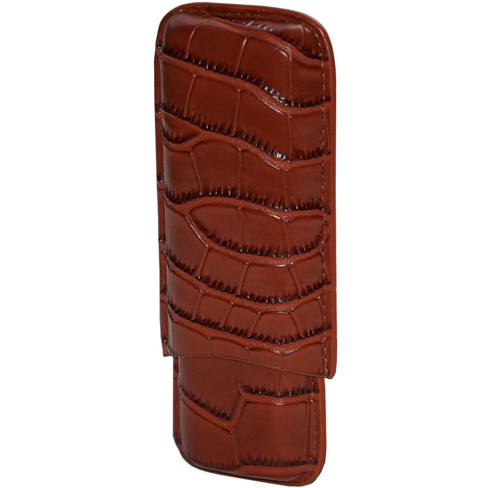Classic Collection - Capri Cigar Leather Case - 2 Fingers - Color Brown