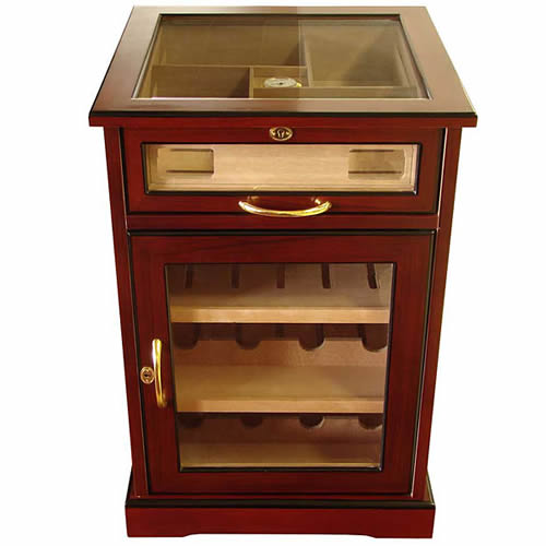 Wine and Cigars Cabinet Humidor - Cherry African Bubinga Wood Exterior